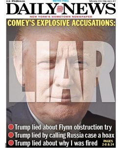 NY Daily News releases front cover for Friday, June 9, 2017