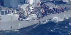 US Navy destroyer collides with freight ship off Japan; 7 sailors missing